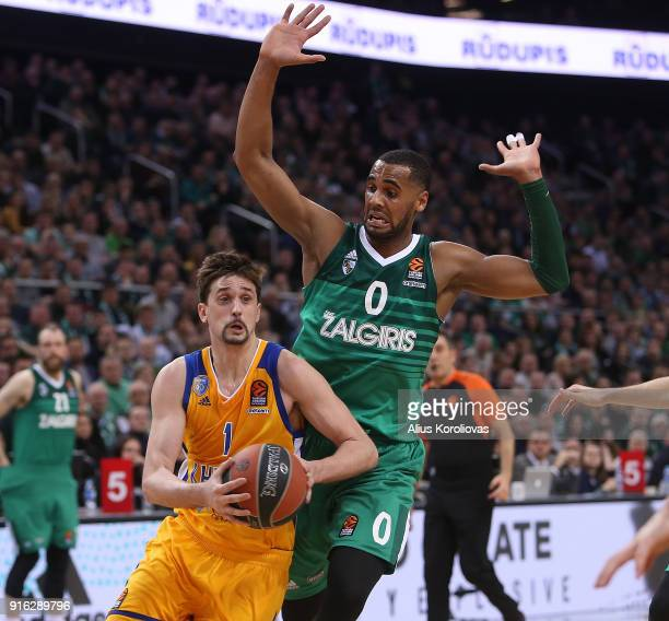 Alexey Shved #1 of Khimki Moscow Region competes with Brandon Davies #0 of Zalgiris Kaunasin action during the 2017/2018 Turkish Airlines EuroLeague...