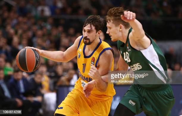 Alexey Shved #1 of Khimki Moscow Region competes with Marius Grigonis #40 of Zalgiris Kaunas in action during the 2018/2019 Turkish Airlines...