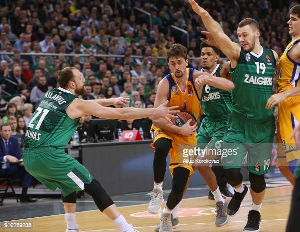 Alexey Shved #1 of Khimki Moscow Region competes with Martynas Sajus #19 of Zalgiris Kaunas in action during the 2017/2018 Turkish Airlines...
