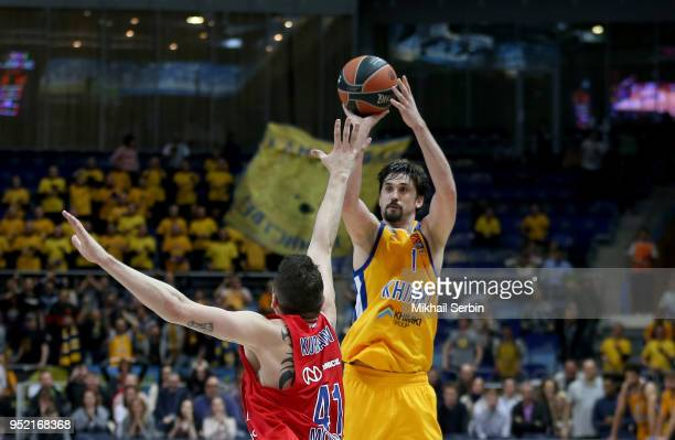 Alexey Shved #1 of Khimki Moscow Region competes with Nikita Kurbanov #41 of CSKA Moscow in action during the Turkish Airlines Euroleague Play Offs...