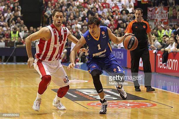 Alexey Shved #1 of Khimki Moscow Region competes with Stefan Jovic #24 of Crvena Zvezda Telekom Belgrade during the Turkish Airlines Euroleague...