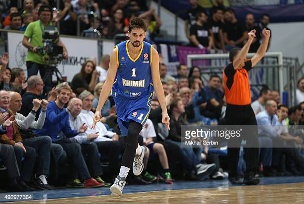 Alexey Shved #1 of Khimki Moscow Region during the Turkish Airlines Euroleague Basketball Regular Season Date 1 game Khimki Moscow Region v Real...