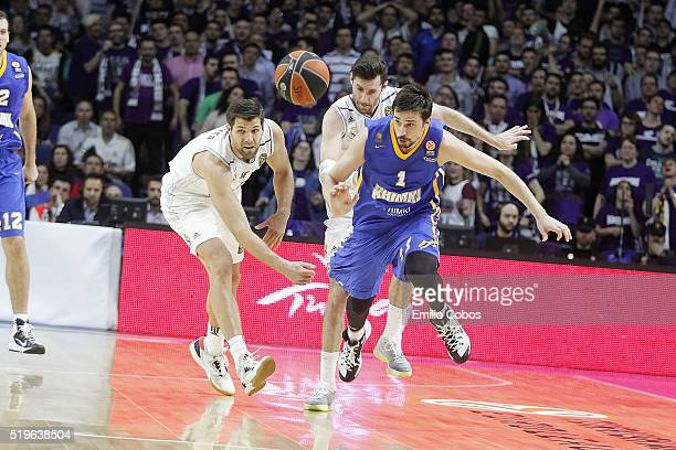 Alexey Shved #1 of Khimki Moscow Region in action during the 20152016 Turkish Airlines Euroleague Basketball Top 16 Round 14 game between Real Madrid...