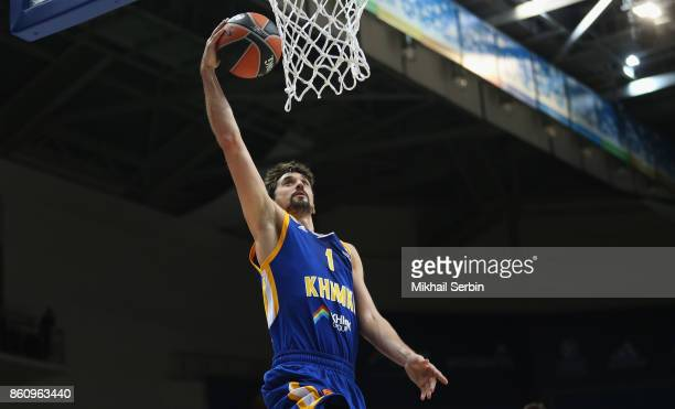 Alexey Shved #1 of Khimki Moscow Region in action during the 2017/2018 Turkish Airlines EuroLeague Regular Season Round 1 game between Khimki Moscow...