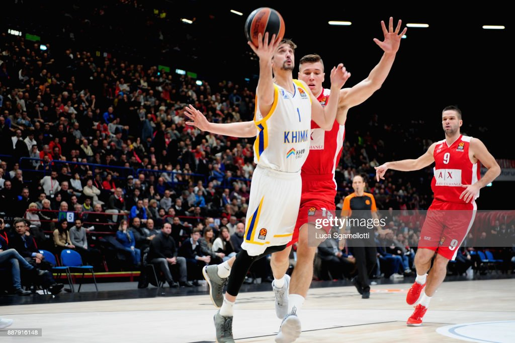 Alexey Shved, #1 of Khimki Moscow Region in action during the 2017/2018 Turkish Airlines EuroLeague Regular Season Round 11 game between AX Armani Exchange Olimpia Milan and Khimki Moscow Region at Mediolanum Forum on December 7, 2017 in Milan, Italy.