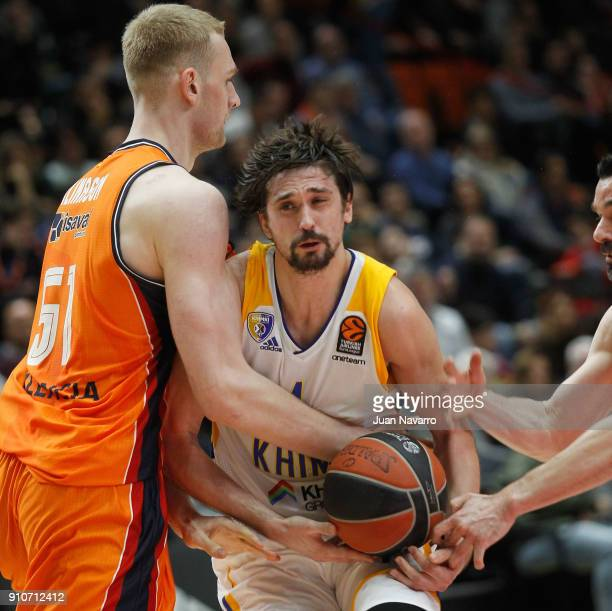 Alexey Shved #1 of Khimki Moscow Region in action during the 2017/2018 Turkish Airlines EuroLeague Regular Season Round 20 game between Valencia...