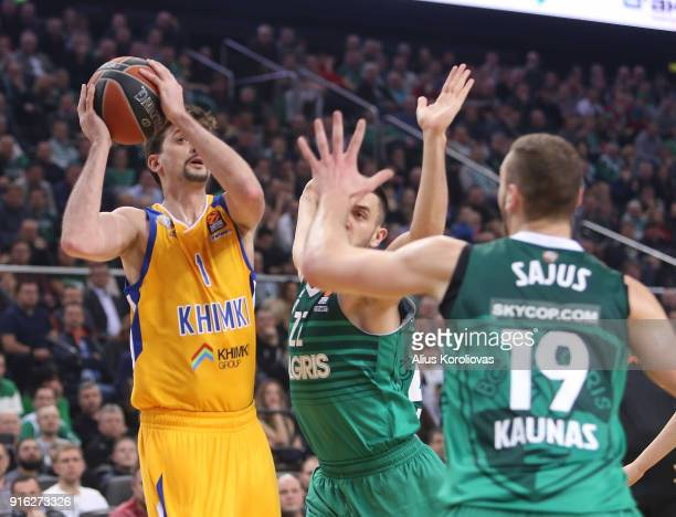 Alexey Shved #1 of Khimki Moscow Region in action during the 2017/2018 Turkish Airlines EuroLeague Regular Season Round 22 game between Zalgiris...