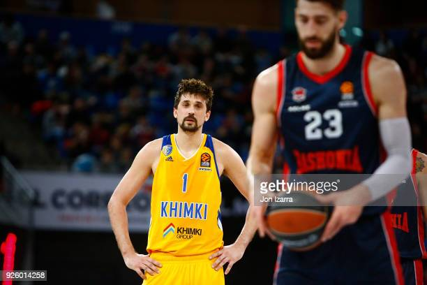 Alexey Shved #1 of Khimki Moscow Region in action during the 2017/2018 Turkish Airlines EuroLeague Regular Season Round 24 game between Baskonia...