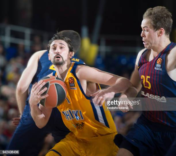 Alexey Shved #1 of Khimki Moscow Region in action during the 2017/2018 Turkish Airlines EuroLeague Regular Season Round 30 game between FC Barcelona...