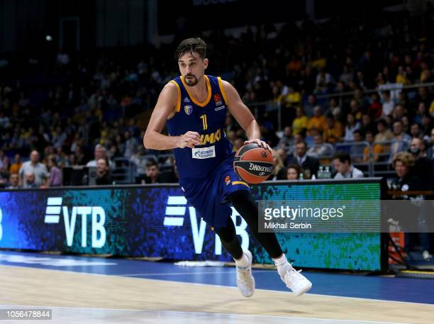 Alexey Shved #1 of Khimki Moscow Region in action during the 2018/2019 Turkish Airlines EuroLeague Regular Season Round 5 game between Khimki Moscow...