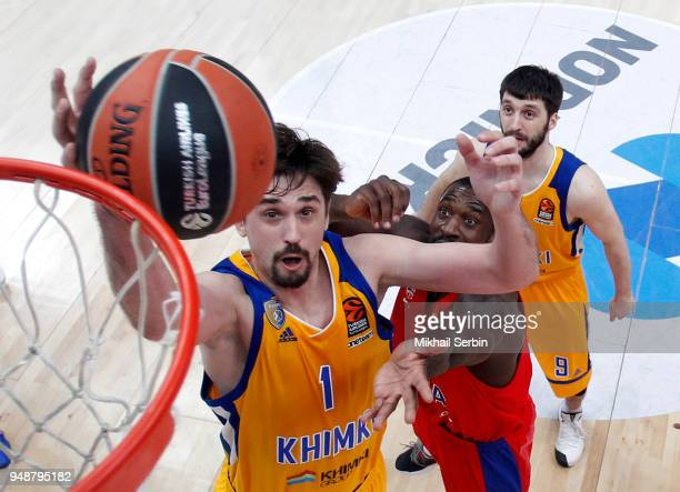 Alexey Shved #1 of Khimki Moscow Region in action during the Turkish Airlines Euroleague Play Offs Game 2 between CSKA Moscow v Khimki Moscow Region...