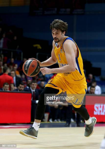 Alexey Shved #1 of Khimki Moscow Region in action during the Turkish Airlines Euroleague Play Offs Game 3 between Khimki Moscow Region v CSKA Moscow...