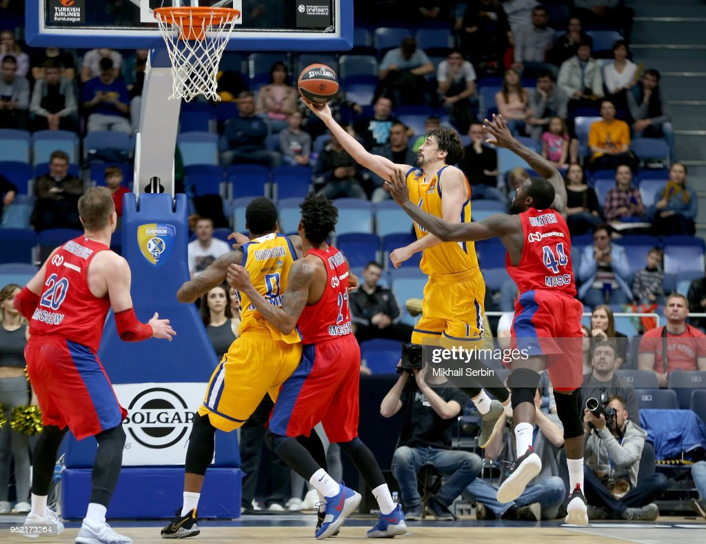Alexey Shved, #1 of Khimki Moscow Region in action during the Turkish Airlines Euroleague Play Offs Game 4 between Khimki Moscow Region v CSKA Moscow at Arena Mytishchi on April 27, 2018 in Moscow, Russia.