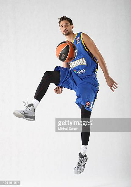 Alexey Shved #1 of Khimki Moscow Region poses during the 2015/2016 Turkish Airlines Euroleague Basketball Media Day at Basketball Center of Moscow...