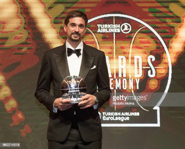 Alexey Shved #1 of Khimki Moscow Region poses with First Team Award during the 201718 Turkish Airlines EuroLeague Awards Ceremony at Palace of Serbia...