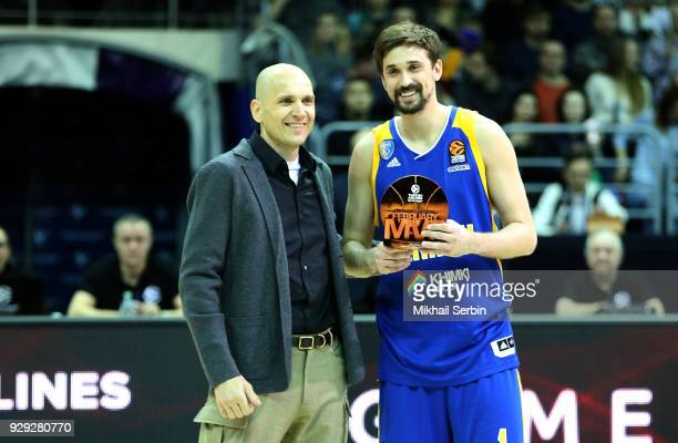 Alexey Shved #1 of Khimki Moscow Region with MVP trophy before the 2017/2018 Turkish Airlines EuroLeague Regular Season Round 25 game between Khimki...