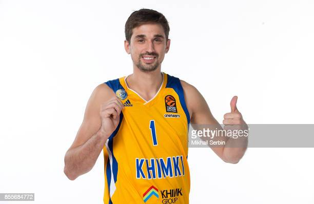 Alexey Shved #1 poses during Khimki Moscow Region 2017/2018 Turkish Airlines EuroLeague Media Day at Mytischi Arena on September 29 2017 in Moscow...