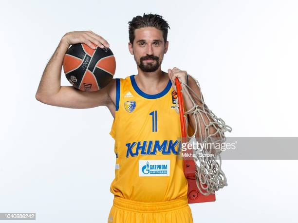 Alexey Shved #1 poses during the Khimki Moscow Region 2018/2019 Turkish Airlines EuroLeague Media Day at Arena Mytishchi on September 25 2018 in...