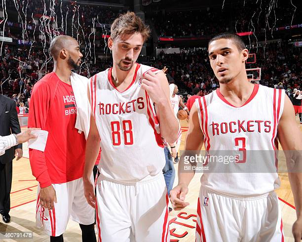 Alexey Shved and Nick Johnson of the Houston Rockets after their win against the Portland Trail Blazers the game on Texas NOTE TO USER User expressly...