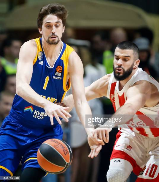 Alexey Shved of Khimki competes for the ball against Branko Lazic of Crvena Zvezda during the 2017/2018 Turkish Airlines EuroLeague Regular Season...