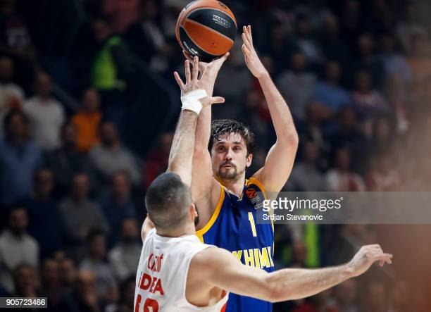 Alexey Shved of Khimki in action against Branko Lazic of Crvena Zvezda during the 2017/2018 Turkish Airlines EuroLeague Regular Season Round 18 game...