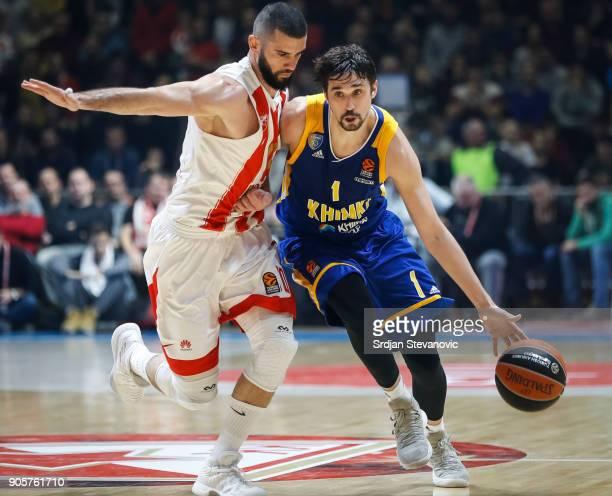 Alexey Shved of Khimki in action against Branko Lazic of Crvena Zvezda during the 2017/2018 Turkish Airlines EuroLeague Regular Season Round 18 game...