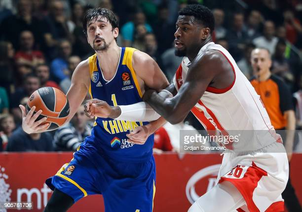 Alexey Shved of Khimki in action against Mathias Lessort of Crvena Zvezda during the 2017/2018 Turkish Airlines EuroLeague Regular Season Round 18...