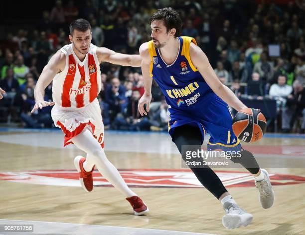 Alexey Shved of Khimki in action against Nemanja Dangubic of Crvena Zvezda during the 2017/2018 Turkish Airlines EuroLeague Regular Season Round 18...