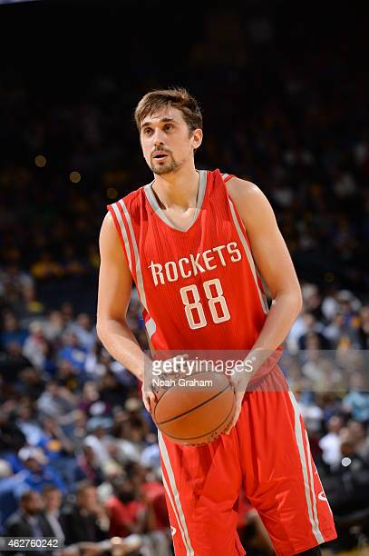 Alexey Shved of the Houston Rockets attempts a free throw against the Golden State Warriors on January 21 2015 at Oracle Arena in Oakland California...