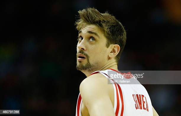 Alexey Shved of the Houston Rockets waits on the court during their game against the Portland Trail Blazers at the Toyota Center on December 22 2014...