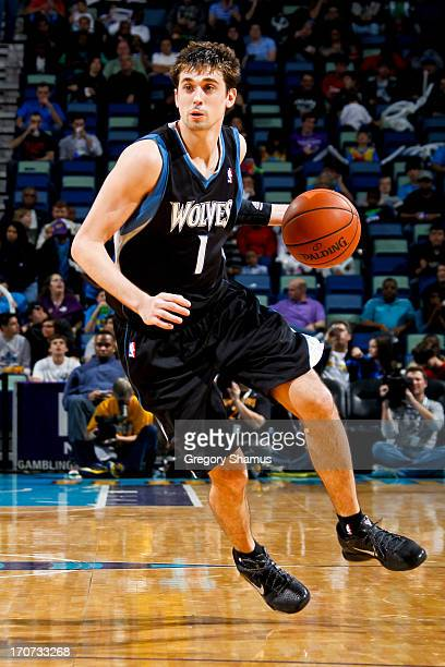 Alexey Shved of the Minnesota Timberwolves controls the ball against the New Orleans Hornets on December 14 2012 at the New Orleans Arena in New...