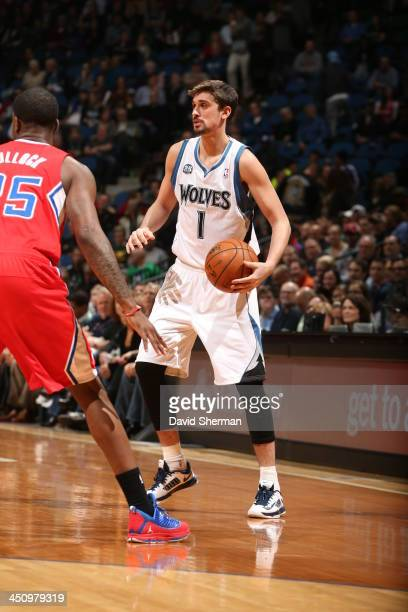 Alexey Shved of the Minnesota Timberwolves controls the ball against against the Los Angeles Clippers on November 20 2013 at Target Center in...
