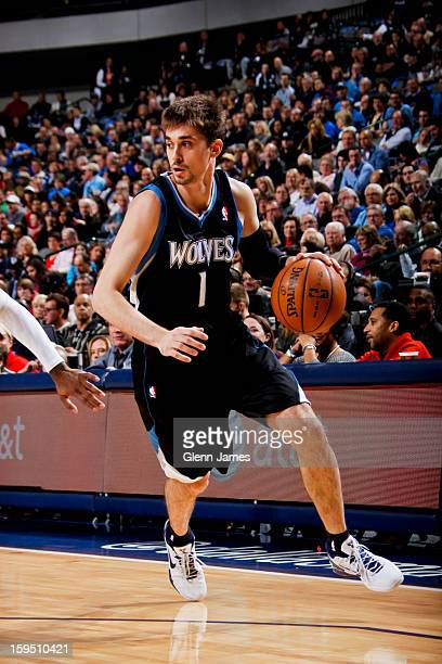 Alexey Shved of the Minnesota Timberwolves drives against the Dallas Mavericks on January 14 2013 at the American Airlines Center in Dallas Texas...