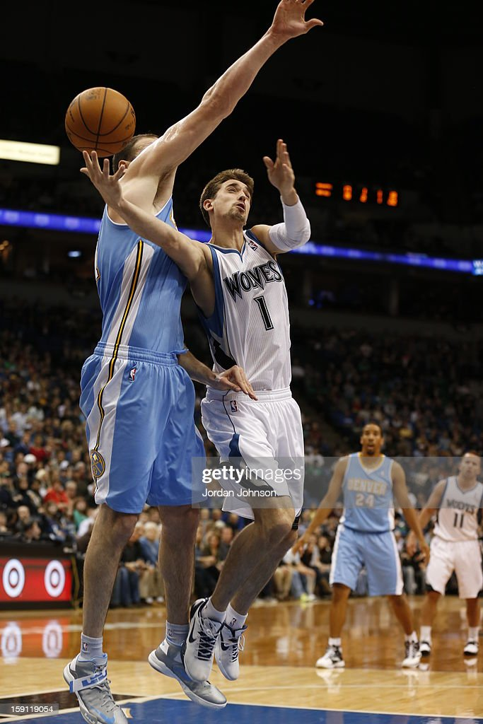 Alexey Shved #1 of the Minnesota Timberwolves drives to the basket against the Denver Nuggets on November 21, 2012 at Target Center in Minneapolis, Minnesota.