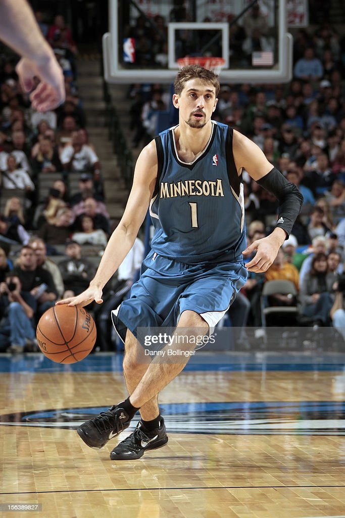 Alexey Shved #1 of the Minnesota Timberwolves handles the ball against the Dallas Mavericks on November 12, 2012 at the American Airlines Center in Dallas, Texas.