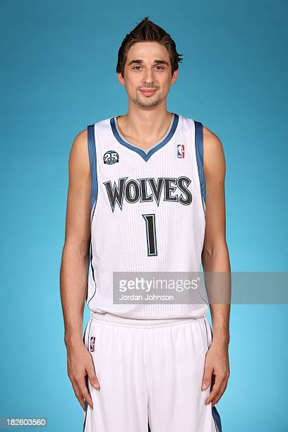 Alexey Shved of the Minnesota Timberwolves poses for a portrait during 2013 NBA Media Day on September 30 2013 at Target Center in Minneapolis...