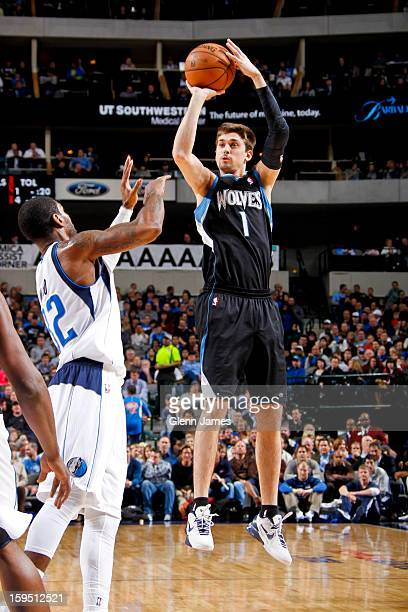 Alexey Shved of the Minnesota Timberwolves shoots a threepointer against OJ Mayo of the Dallas Mavericks on January 14 2013 at the American Airlines...