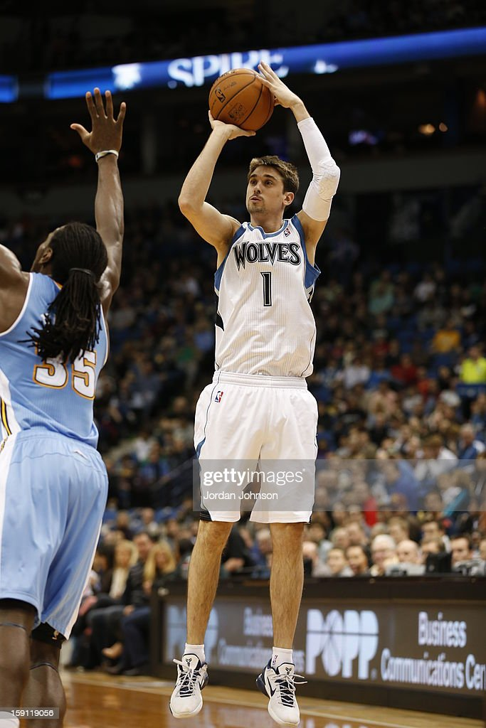 Alexey Shved #1 of the Minnesota Timberwolves shoots against the Denver Nuggets on November 21, 2012 at Target Center in Minneapolis, Minnesota.
