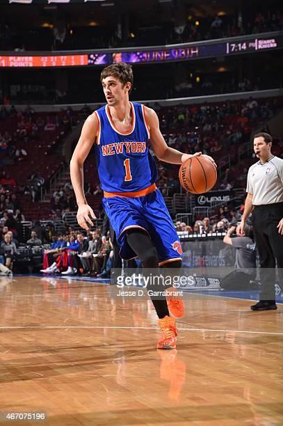 Alexey Shved of the New York Knicks dribbles the ball against the Philadelphia 76ers at Wells Fargo Center on March 20 2015 in Philadelphia...