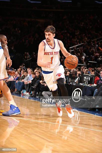 Alexey Shved of the New York Knicks drives to the basket against the Indiana Pacers on March 7 2015 at Madison Square Garden in New York City NOTE TO...