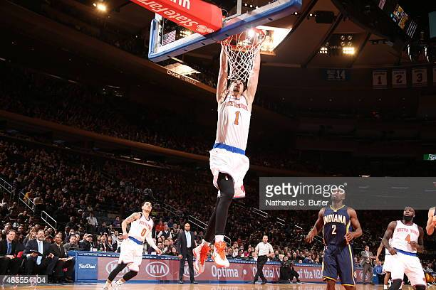 Alexey Shved of the New York Knicks goes to the basket against the Indiana Pacers on March 7 2015 at Madison Square Garden in New York City NOTE TO...
