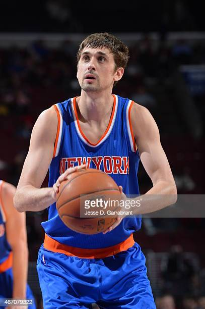 Alexey Shved of the New York Knicks shoots a foul shot against the Philadelphia 76ers at Wells Fargo Center on March 20 2015 in Philadelphia...