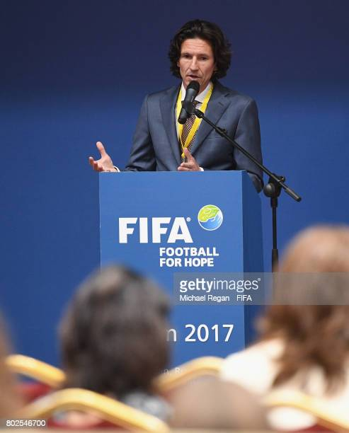 Alexey Smertin gives a keynote speech during the Football For Hope Forum on June 28, 2017 in Kazan, Russia.
