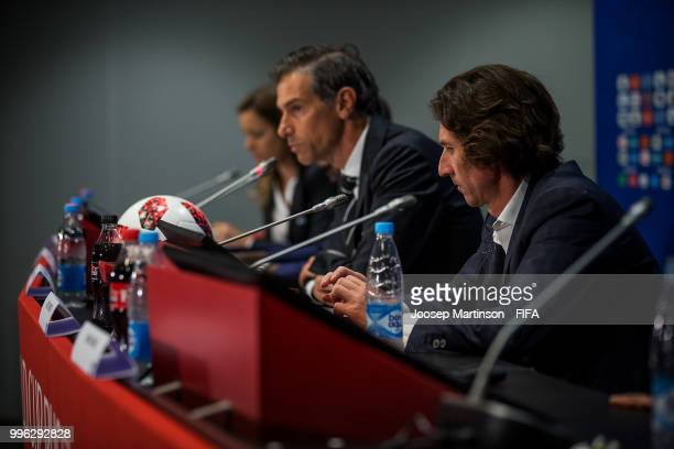 Alexey Smertin looks on during Anti-Discrimination & Diversity Panel at Luzhniki Stadium on July 11, 2018 in Moscow, Russia.