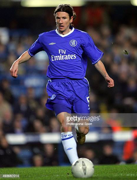 Alexey Smertin of Chelsea in action during the Champions League match between Chelsea and Paris Saint Germain at Stamford Bridge on November 24, 2004...