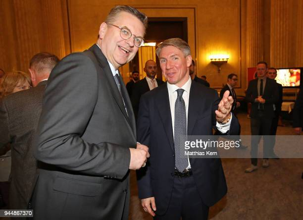 Alexey Sorokin the Chairman and CEO of the 2018 FIFA World Cup Russia LOC and Reinhard Grindel president of the German Football Federation attend the...
