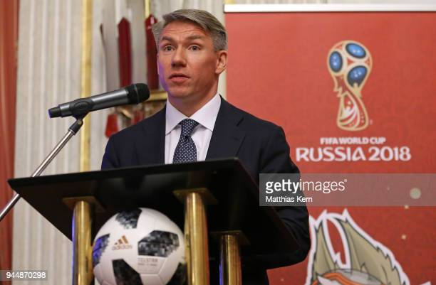 Alexey Sorokin the Chairman and CEO of the 2018 FIFA World Cup Russia LOC looks on during a Russia 2018 Organizing Committee press conference at the...