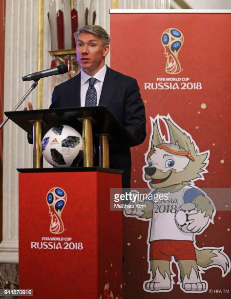 Alexey Sorokin the Chairman and CEO of the 2018 FIFA World Cup Russia LOC holds a speech during a Russia 2018 Organizing Committee press conference...
