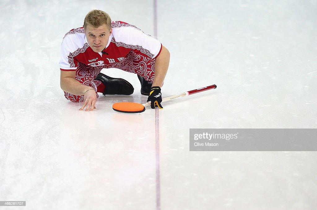 Alexey Stukalskiy of Russia in action during the round robin match against Great Britain during day 3 of the Sochi 2014 Winter Olympics at Ice Cube Curling Center on February 10, 2014 in Sochi, Russia.