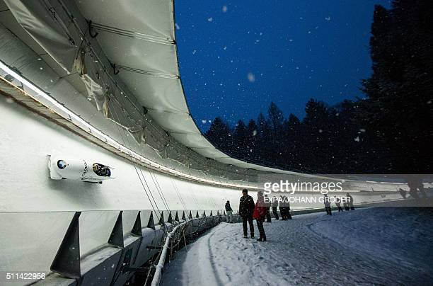 TOPSHOT Alexey Stulnev Maxim Mokrousov Vasiliy Kondratenko Roman Koshelev of Russia compete during FourMan Bobsleigh 2nd run of Bobsleigh and...